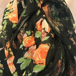 Floral & Black Lace infinity scarf